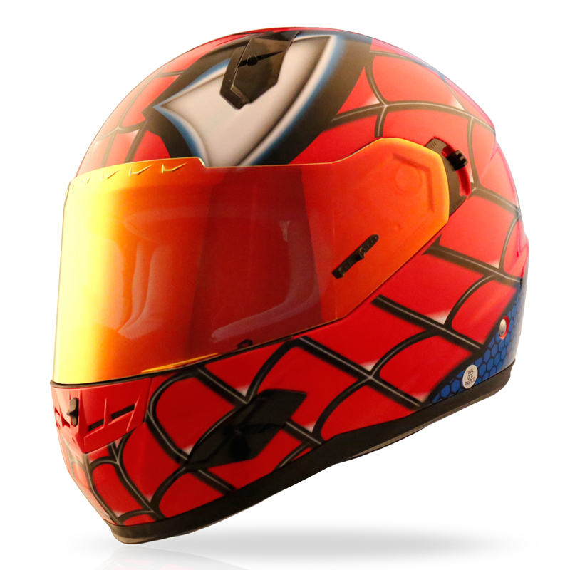 Motorcycle Helmets Full Face Helmet Street Bike DOT Certified 2 Visors with Clear Shield Dual Visors Fiberglass Shell Spiderman