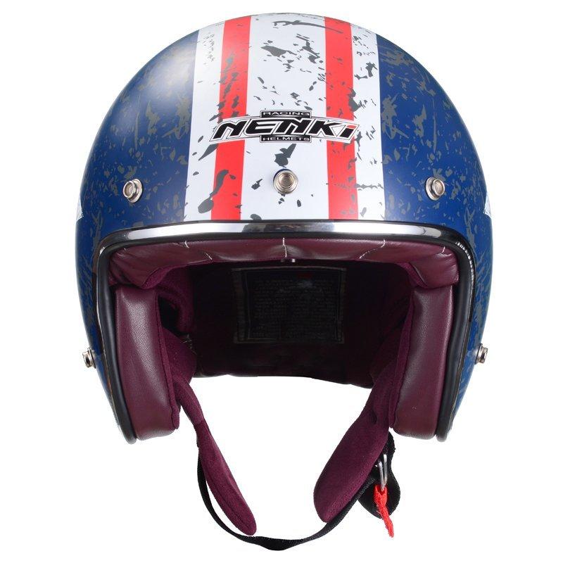 Nenki Motorcycle Helmet Open Face 3/4 Helmet Half Helmet DOT Approved Old Glory Fiberglass Shell NK628 Nenki Helmet Open Face Helmets image12