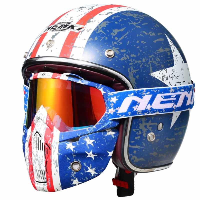 Motorcycle Helmet Open Face 3/4 Helmet Half Helmet DOT Approved Old Glory Fiberglass Shell NK628 Nenki Helmet