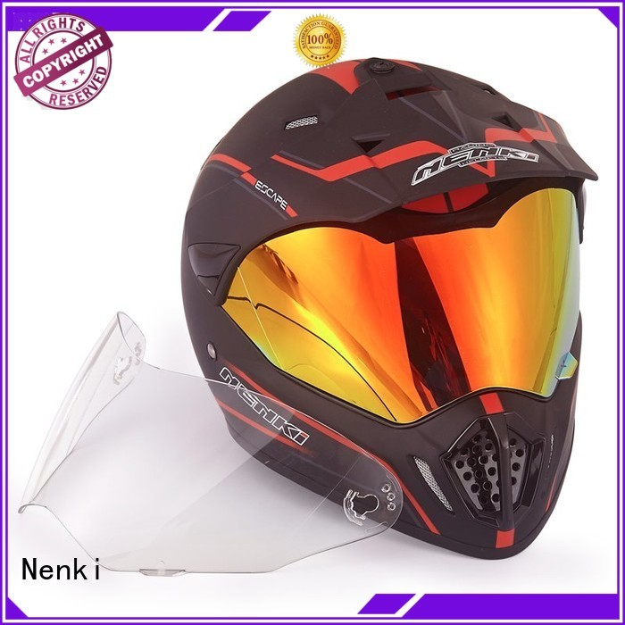 certified fiberglass dual sport helmet with sun visor cheap Nenki Brand company